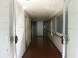 ビルの廊下とエレベーターの写真